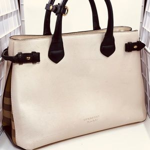 Burberry Leather White Black Handbag. W/COA